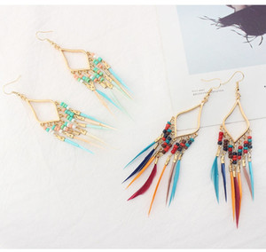 Retro Exaggerated Feather Beads Earrings Diamond Long Earrings Creative Dangler Fashion Beads Tassel Earrings Support FBA Drop Shipping H59R