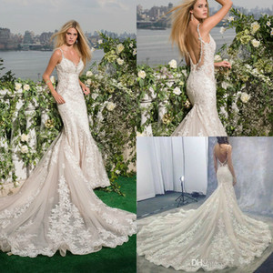 2019 Gorgeous Lace Mermaid Wedding Dresses Bridal Gowns Sexy Beaded V Neck Spaghetti Straps Backless Chapel Train vestidos de novia