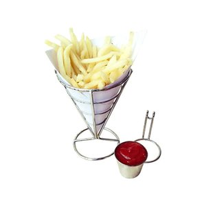 Wholesale French Fry Stand Cone Basket Holder Cup for Fries Fish and Chips and Appetizers Container For Kitchen And Restaurant