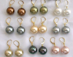 wholesale 18pcs 9 Pair 10mm South Sea Shell Pearl Earring