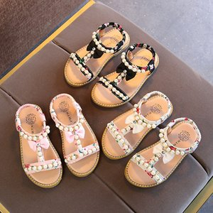 Wholesale New Children Summer Baby Toddler Little Girls Sandals Floral Beaded Pearls Princess Dress Shoes For Kids Girls Rome Party Wedding Sandals