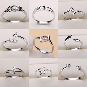 Pearl Ring Settings 925 Sterling Silver Ring Settings 9 Styles DIY Ring for Women Adjustable Size Jewelry Settings Gift Statement Jewelry
