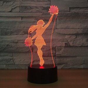 Wholesale 3D Illusion Lamp Ballet Girl LED USB D Night Lights Colors Flashing Novelty LED Table Lamp Kids Decoration Lights Dropshipping