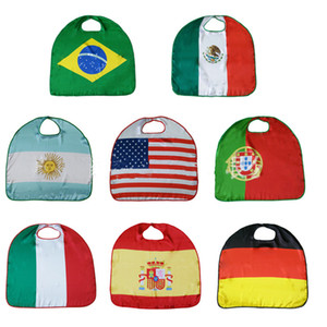 Wholesale 70 cm World Cup National Flag Cloak Costume Cape USA Italy Germany Flag Cloak Clothing Polyester Cloak T2I157