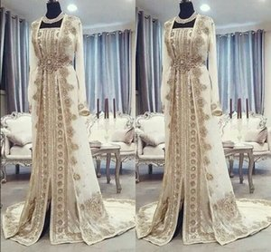 Wholesale Moroccan Caftan Kaftan Evening Dresses Dubai Abaya Arabic Long Sleeves Amazing Gold Embroidery Square-Neck Occasion Prom Formal Gowns