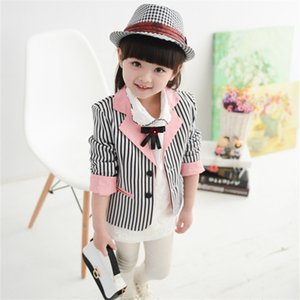 cute girl blazer coat lady style striped elegant suit blazer coat for 2-12years girls kids children blazer outerwear on Sale