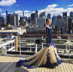 Pageant Dresses Sexy deep V collar fish tail wrap hip tail coat transparent long sleeved champagne plus blue Decor dress custom mailing on Sale