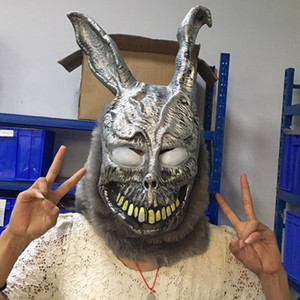ingrosso donnie darko maschera-Adulto Divertente Donnie Darko FRANK la Maschera di Coniglio Bunny Latex Halloween Overhead Costume di Pelliccia Maschere Animali Party Cosplay Dress Puntelli