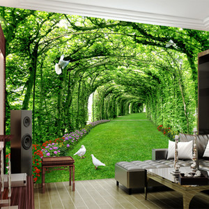 Wholesale Custom Photo Wallpaper For Walls 3 D Green Forest Tree Lawn 3D Stereo Space Backdrop Wall Paper Home Decor Mural Papel De Parede