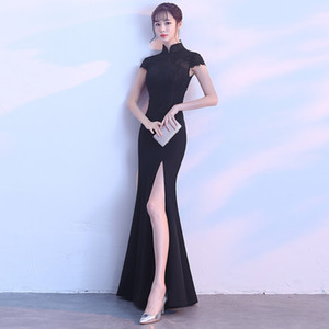 2018 Black Cheongsam Sexy Qipao Long Traditional Chinese Dresses Oriental Silk Dress China Clothing Store Robe Chinoise Soie