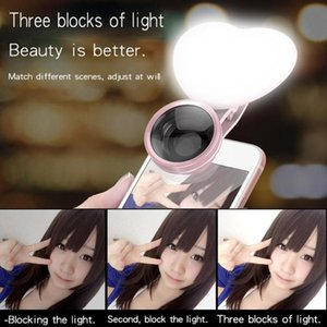 Wholesale Star Heart Shape Clip Phone Lens with LED Selfie Fill in Light Wide Angle Macro Lens For Phone Accessories