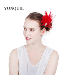 Wholesale 2017 Fashion red Feather hair clips Headbands for Girls women cocktail Hair Accessories Indian Style occasion event cocktail Headwear SYF222