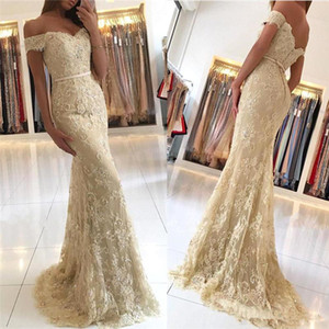 Champagne Lace Mermaid Evening Dresses 2018 Off Shoulder Lace Appliques Beaded Sweep Train Prom Dress Formal Long Gowns on Sale