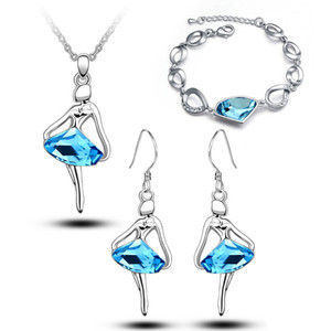 18K White Gold Plated Ballet Dancing Girls Figure Crystal Necklace Earrings Bracelet Jewelry Set for Women Made With Swarovski Elements on Sale