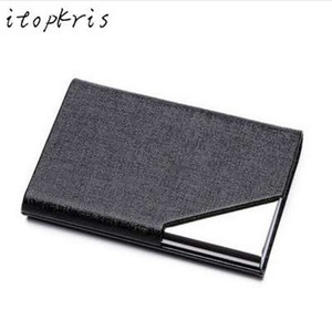 Itopkris Business ID Credit Card Holder For Women Men Fashion Brand Metal Aluminum Card Case PU Leather Porte Carte on Sale