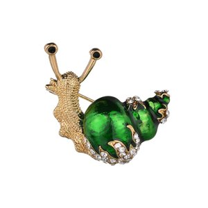 Wholesale Fashion White Green Yellow Enamel Snail Brooches Women Men Vintage Hijab Pins Shiny Jewelry Accessories Bijoux Crystal Brooch