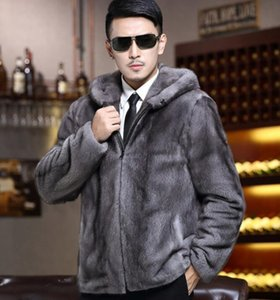 Men autumn winter Korean fashion new style of European and American boutique personality handsome trend hat fur grey coat  S-6XL on Sale