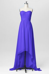 2018 New Strapless Purple Designer Bridesmaid Dresses High Low Chiffon Ruched Beach Country Wedding Maid of Honor Gown BM0227 on Sale