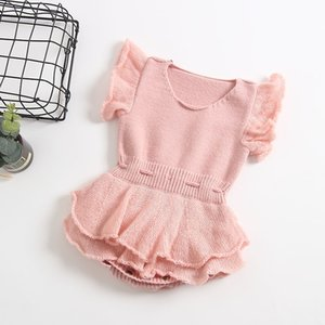 knitted romper 2018 hot selling INS autumn winter new style kids high quality cotton Bubble lace sleeve knitted pure color romper 2 colors