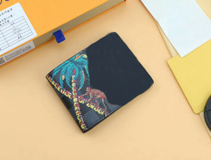 Wholesale Famous Brand Women Genuine Leather short Wallets Coconut tree M62201 with dustbag box zippy card Holder Multiple Purses CX Bags