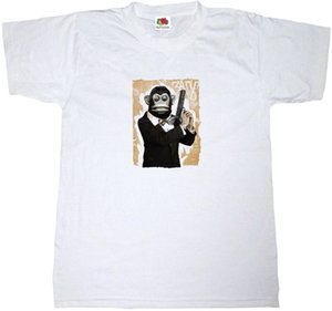 Wholesale CYMBALS MONKEY SECRET AGENT T SHIRT COTTON BANG GUN FUNNY GANGSTER TEE SHIRT