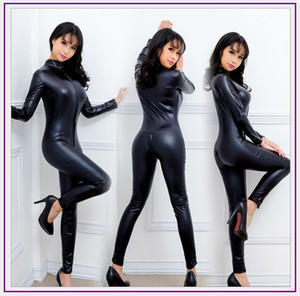 Wholesale Spandex Full Zentai Bodysuit Long Sleeve Metallic Unitard Gymnastics Black Adult Shiny Faux Leather Catsuit Dance Wet Look