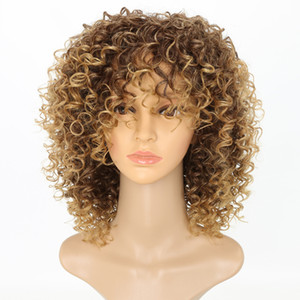 Kinky Curly Wigs for Black Women Blonde Synthetic Hair Color T27 30 Blonde Afro Wig 16 Inches