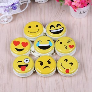 Wholesale Emoji coin purse Cute Portable Coin Purse Keyring Pouch Wallet Earphone Headphone Earbud Carrying Boxes Purse Case