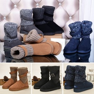 Wholesale 2019 WGG Sweater Knee Boots Ankle Boots Australia Classic Brand Womens girl Knitting Wool Tie Black Grey Blue Winter Snow Boots
