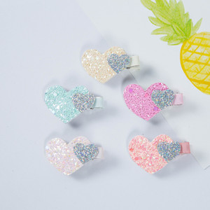 Wholesale 10pairs New Spring Baby Sequins Love Heart Hair Clips Cute Kids Hair Accessories New Arrival Pink Color Hairpins Korean materials