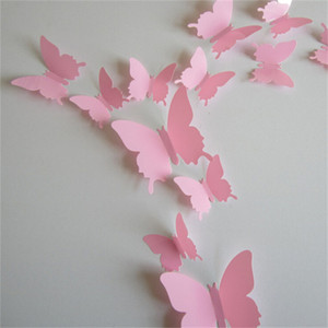 Wholesale 12pcs Vivid Pink Butterfly Mural Decor Removable Wall Stickers with Adhesive Decals Nursery Decoration D Crafts for DIY Christmas