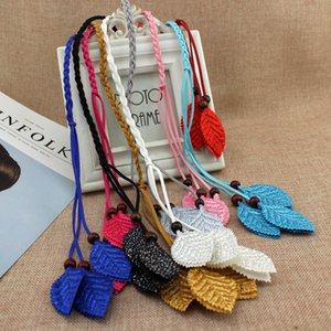 Wholesale Helisopus Women Spring Summer Braided Rope Colors Leaves Decorative Belt Ladies Waist Rope Dress Accessories