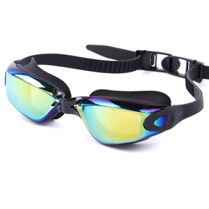 Wholesale mirrored swimming goggles resale online - Anti fog PC Anti UV Swimming Goggles Men Women Super Waterproof Electroplating Mirrored Swimming Glasses Eyewear Swim Gafas