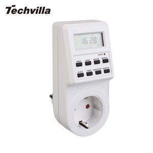 techvilla For 12 24Hour LCD Digital Electronic EU Plug-In Programable Timer Timing On Off Switch Socket Time Clock Adpter