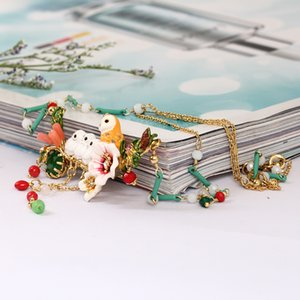 Wholesale France Romantic Ornaments Enamel Snowy Owl Baby Crystal Tassels Necklace Copper Alloy Gold Really Plated Women Jewelry