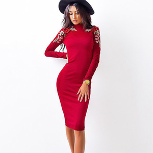 Wholesale Autumn Fashion Women Tight Dress Casual O neck Long Sleeved Appliques Dresses Sexy Knee Length Dress