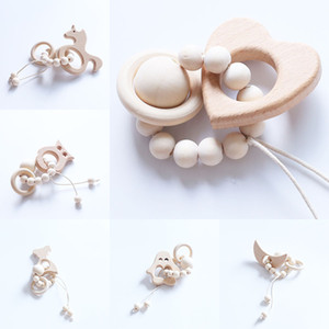 Wholesale baby shower foods for sale - Group buy Baby Teether Rings Food Grade Beech Wood Teething Ring Teethers Chew Toys Shower Play Chew Round Wooden Beads C5053