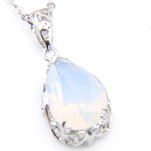 Wholesale 925 fire opal pendants for sale - Group buy 10Pcs Luckyshine Classic Sparking Fire Teardrop Shaped White Opal Gemstone Silver Pendants Necklaces for Holiday Wedding Party mm