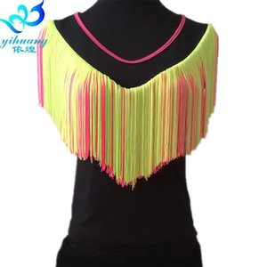 Ldies Latin Dancing Costume Top Girls Ballroom Salsa Rumba Samba Dance Blouse Competition Training Tops Fringe S M L 4 Colors