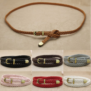 Wholesale 7 Color Waist Belt Braided Buckle Strap Waistband Narrow Thin Womens PU Leather Vivid Braid Belt Female Belt For Dress
