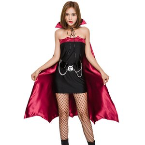 Wholesale Women Gothic Witch Vampire Costume Roles Playing Cosplay Dress Cap Cloak Masquerade Halloween Batwoman Cosplays