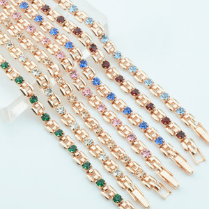 Wholesale 9 Color Women Girls Pink Green White Red Blue Cubic Zircon Stone Bracelets Wrist Square Shaped Bracelets