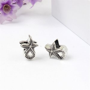 Wholesale Starfish And Shell Alloy Charm Bead Big Hole Fashion Women Jewelry European Style For DIY Bracelet Necklace
