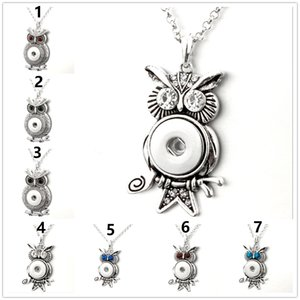 Wholesale Women s Fashion owl shaped pendant necklace Rhinestone Crystal metal Snap Button charm Ginger Snap diy Jewelrys with chain gifts