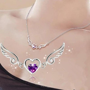 Wholesale S925 Silver Dream Angels Necklace Love Heart Necklace Wings Pendant Ladies Birthday Woman Gift Crystal Jewelry Women s Jewelry