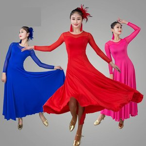 Wholesale Sexy Mesh Long Sleeve Modern Ballroom Dance Costume Clothes Women Standard Ballroom Dancing Dresses Dance Competition