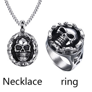 Wholesale Mens Rings Necklaces Sets Bicycle Chain Skull Pendant Ring Stainless Steel Mechanic Design Biker Gothic Punk Jewelry Set Bijoux