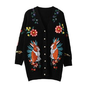 Wholesale Black Long Knitted Sweater Cardigan Autumn Jacket New Casual Cardigan Women Sweater Embroidered Flowers Tiger Winter Coats