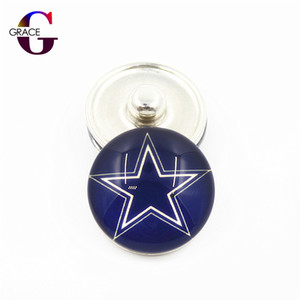 Wholesale 20pcs USA Teams Snap Buttons For DIY mm Glass Football Sports Ginger Snap Jewelry Bracelets Bangles