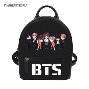 Twoheartsgirl Black BTS Pu Women Backpacks Small Teen Girls Travel Bagpack Unique Hip Hop College Student Girls Bookbag Daypack